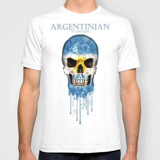 Argentina Skull flag 2015 New Fashion Men's T-shirts Short Sleeve Tshirt Cotton t shirts Man Clothing(China (Mainland))