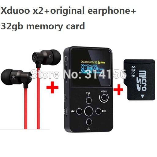 with real 32GB TF card+strong bass earphone, XDUOO X2 HIFI MP3 digital audio Music Player with OLED Screen MP3 WMA APE FLAC WAV(China (Mainland))