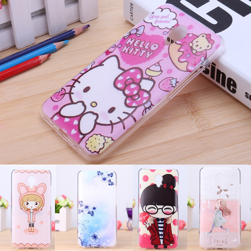 Lovely Little Girl Hello Kitty Pink Tree Soft Cover For Meizu m2 note Case Silicon TPU Flexible Cartoon Phone Shell For MEIZU(China (Mainland))