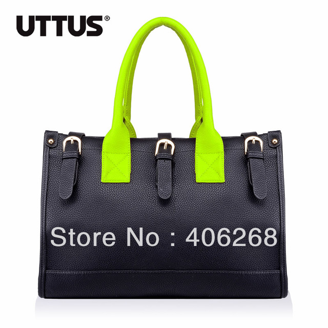 free shipping  New Arrival Uttus 2013 fashionable neon color high quality  pu leather ladies' handbag shoulder bag sling bag