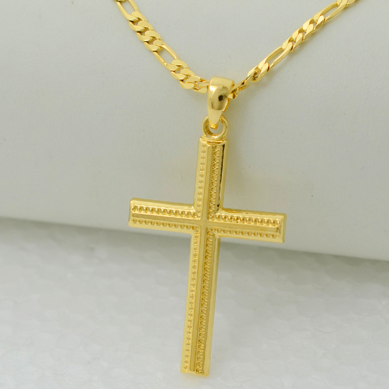 women cross gold plated filled 22k charms pendant necklace