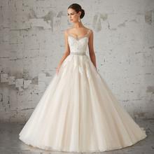 Vestido De Noiva 2016 New Shoulder Floor Length Wedding Dress Appliques Beaded Appealing Backless Line Bride - Nyeutho Store store