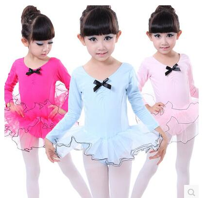 Children cotton long sleeved autumn children dance ballet skirt ballet dress for girls classical ballet tutu girls(China (Mainland))