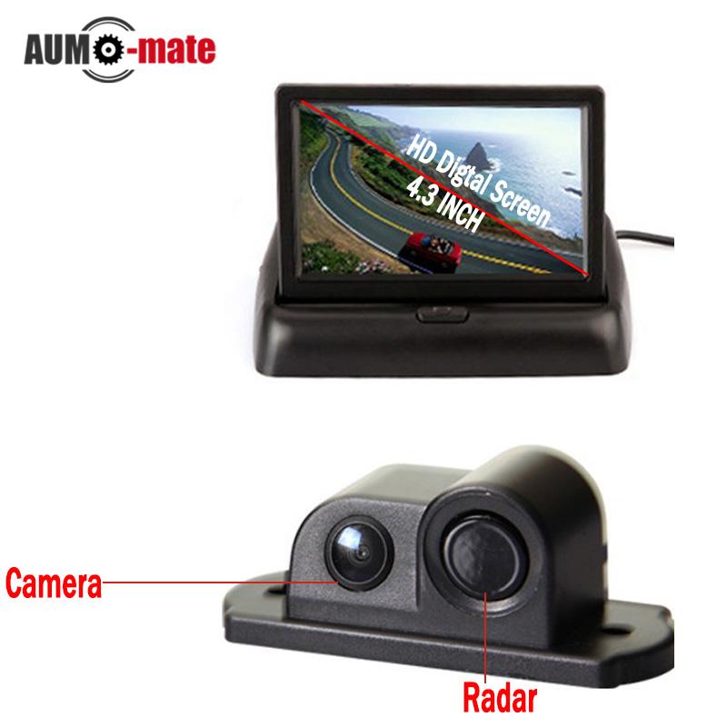 Car Styling Parking Sensor with 4.3'' Foldable Monitor Backup sensor de estacionamento Reversing Camera(China (Mainland))