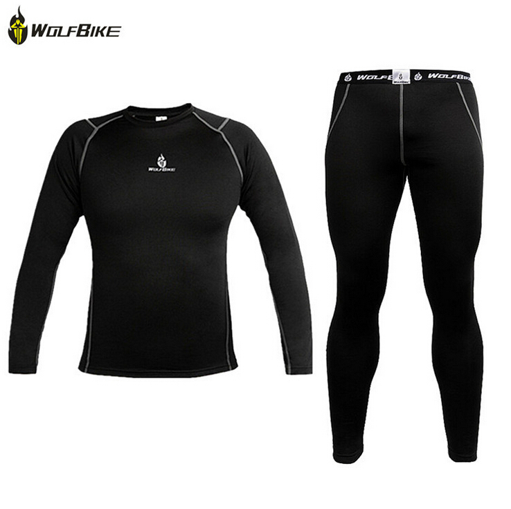 WOLFBIKE Mens Thermal Fleece Quick-dry Base Layer Under Wear Cycling Bike Long Sleeve Jersey Tight Pants Winter Sports clothing<br><br>Aliexpress