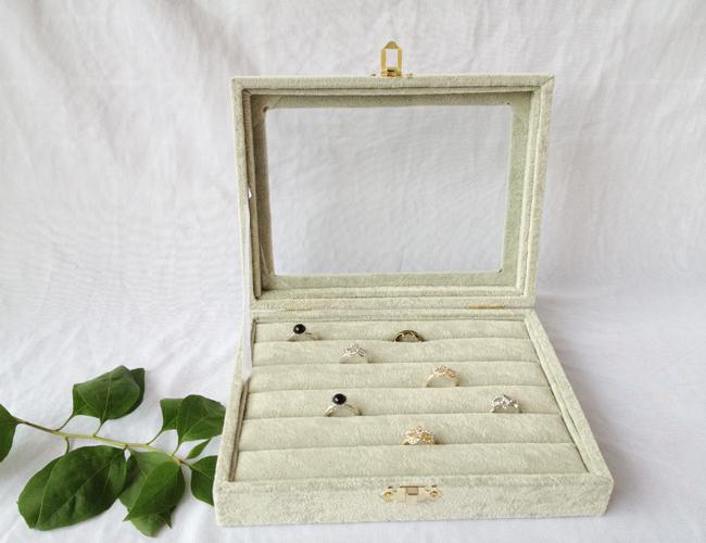 Grey velvet ring tray lock accessories jewelry display rack jewelry box small jewelry box birthday gift(China (Mainland))