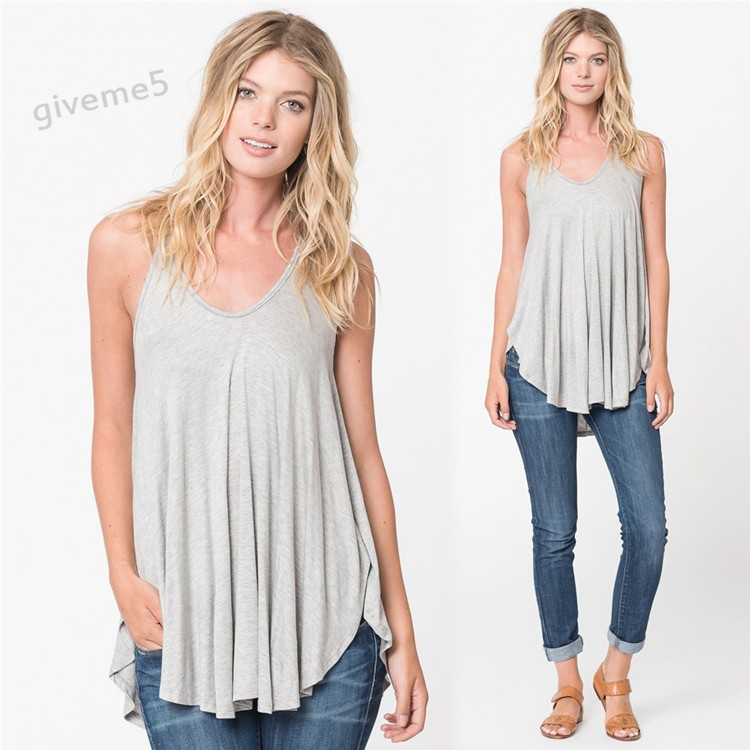 Woman's Elastic Loose Top Summer Vest Solid Color Casual V-neck Spaghetti Strap Tops Camis Blouse White Red Gray(China (Mainland))
