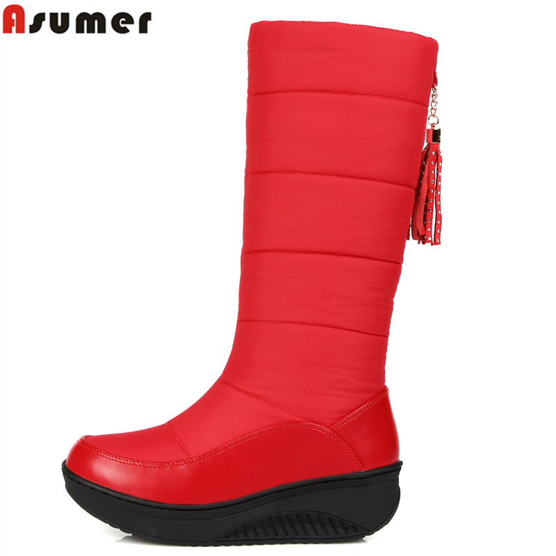4 Style Big size 2017 new fashion Russia keep warm snow boots round toe platform knee high boots winter shoes women boots(China (Mainland))