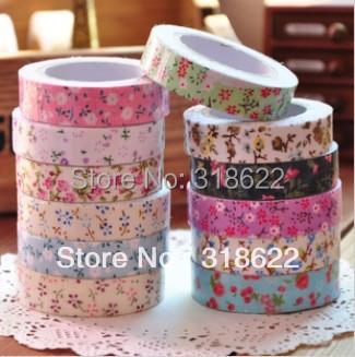 10pcs/lot Flower Printed Japanese Masking Tape Fabric Cotton Adhesive Tapes Korean Decor Crafts1.5cm*5meters/pcs(China (Mainland))