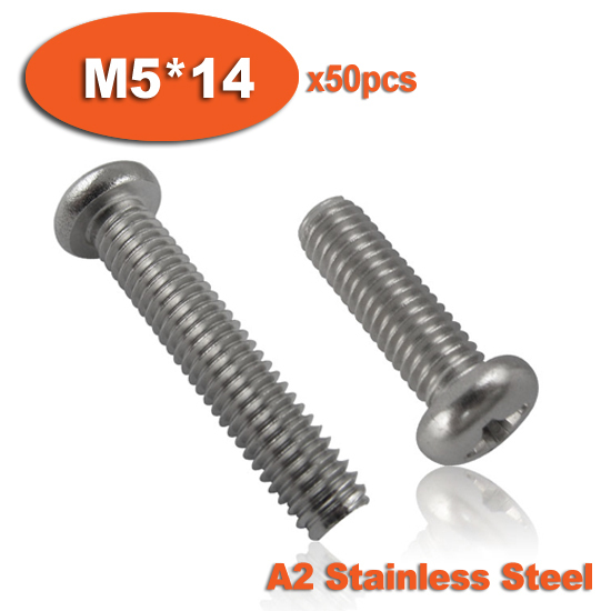 50pcs DIN7985 M5 x 14 A2 Stainless Steel Pan Head Phillips Screw Cross Recessed Raised Cheese Head Screws(China (Mainland))