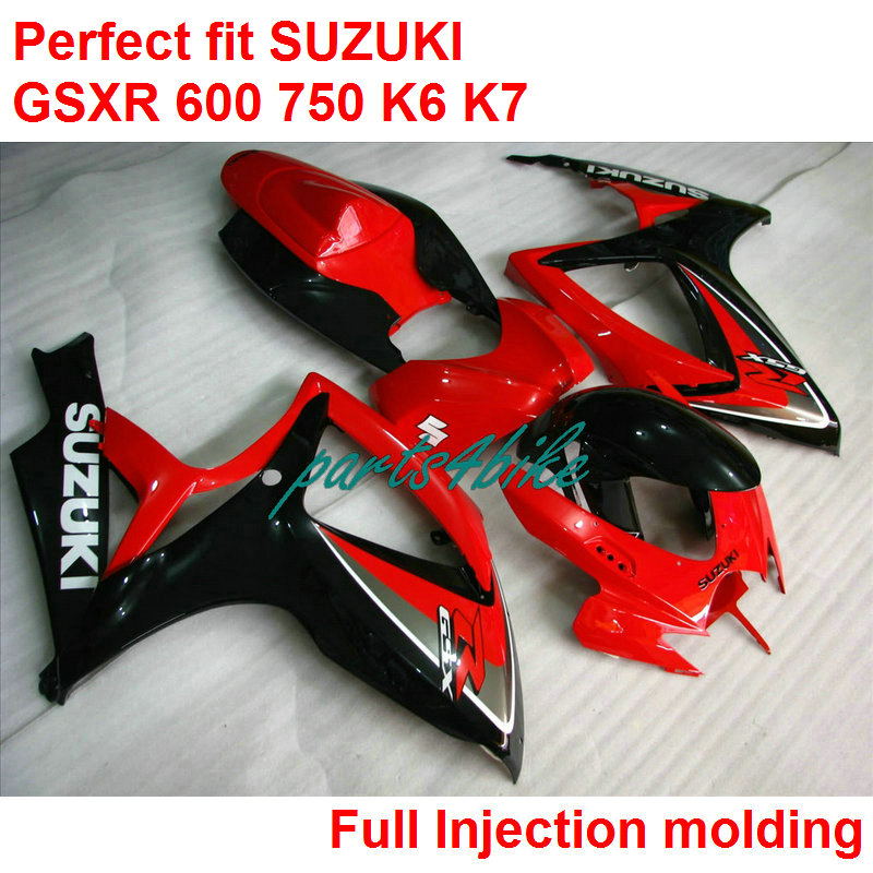 Lower price fairings for Suzuki GSXR600 k7 06 07 red black injection motorbike fairing kit GSXR750 k7 2006 2007 IY60(China (Mainland))