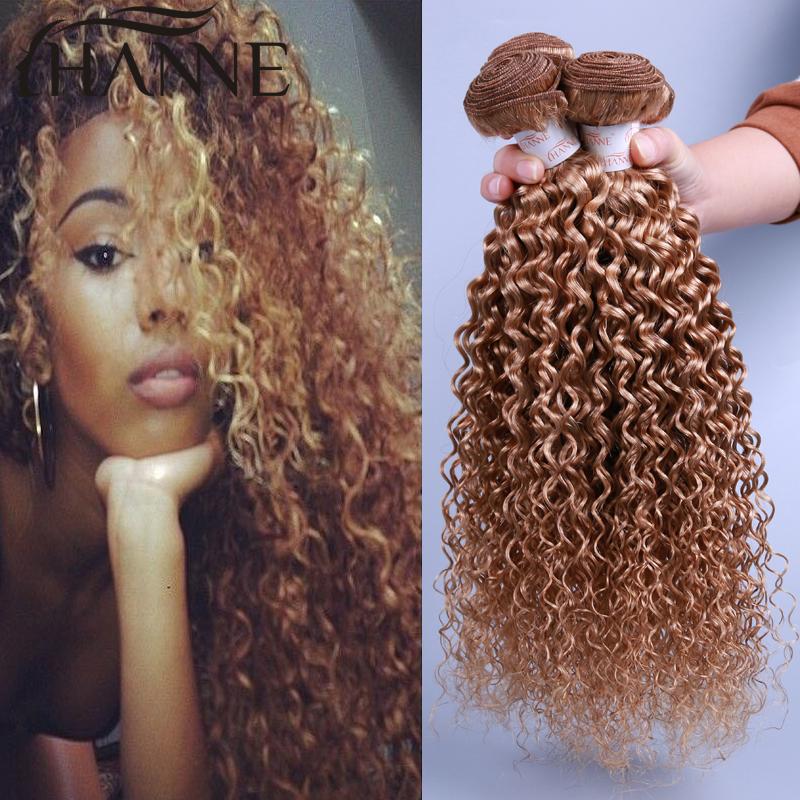 Honey blonde briziian virgin hair kinky curly 4 ps/lot 27# color 12-26 inch 100% HANNE brizilian virgin remy human hair no blend<br><br>Aliexpress