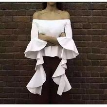 Women Vintage Butterfly SleeveLadies Sexy Shirt Lotus Leaf Sleeve Off Shoulder Blouse Tops Q18