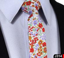 "Floral Check 2.17"" 100% Cotton Wedding Jacquard Slim Skinny Narrow Woven Men Tie Necktie J3(China (Mainland))"