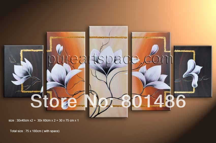 Free shipping! Top-quality Modern Abstract white flower blossom Oil Painting Fine Art handpainted Canvas for Wall(China (Mainland))