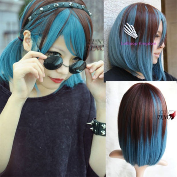 Fashion  Brown+Blue Color Curly Short Straight Hair Wig Full Cosplay LOLITA Wigs<br><br>Aliexpress