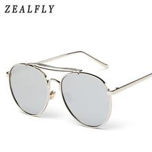 Round Oversized Sunglasses Men Women Pink Coating Mirror Vintage Trend Fashion Style Alloy Big Frame Woman Sun Glasses UV400