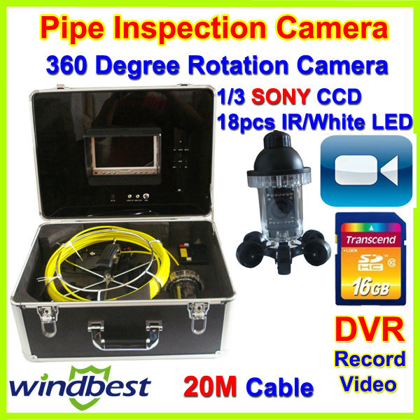 "360 Degree Rotation CCTV Underwater SONY CCD Pipe Inspection Camera DVR Record Video 7"" TFT LCD 20m Cable 18pcs IR/White LEDs(China (Mainland))"
