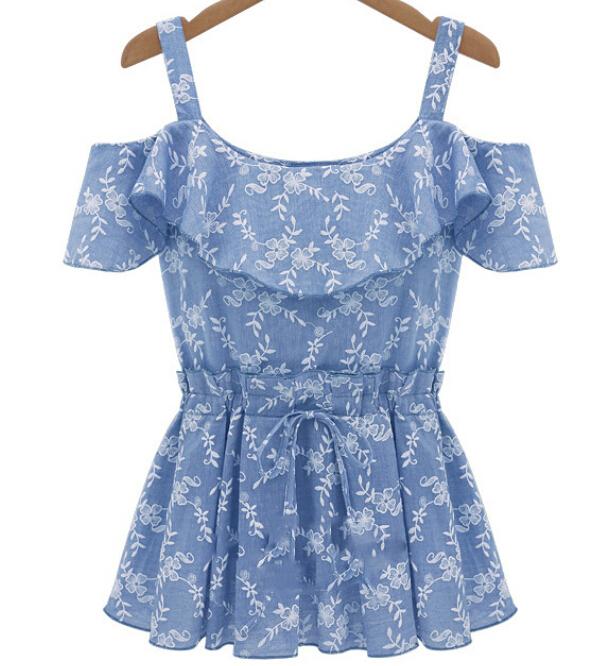 2015 fashion strapless waist slim all-match print expansion bottom spaghetti strap slit neckline top cutout blouse denim shirts(China (Mainland))