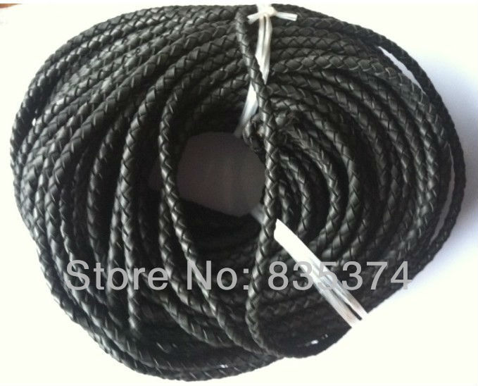 High quality 4 strands black 6mm braided  leather cord round 50meters/lot