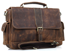 Free shipping Mens Cowhide Leather Briefcases Tote Shoulder Messenger Bags New Arrival 9917