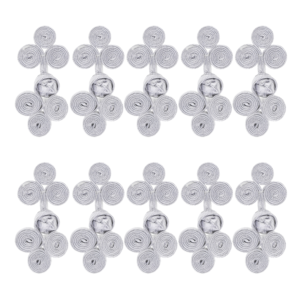 Phenovo 10 Sets Assorted Color Chinese Frog Knot Closure Buttons Fastener for DIY Sewing Casual Coats Cheongsam Wear