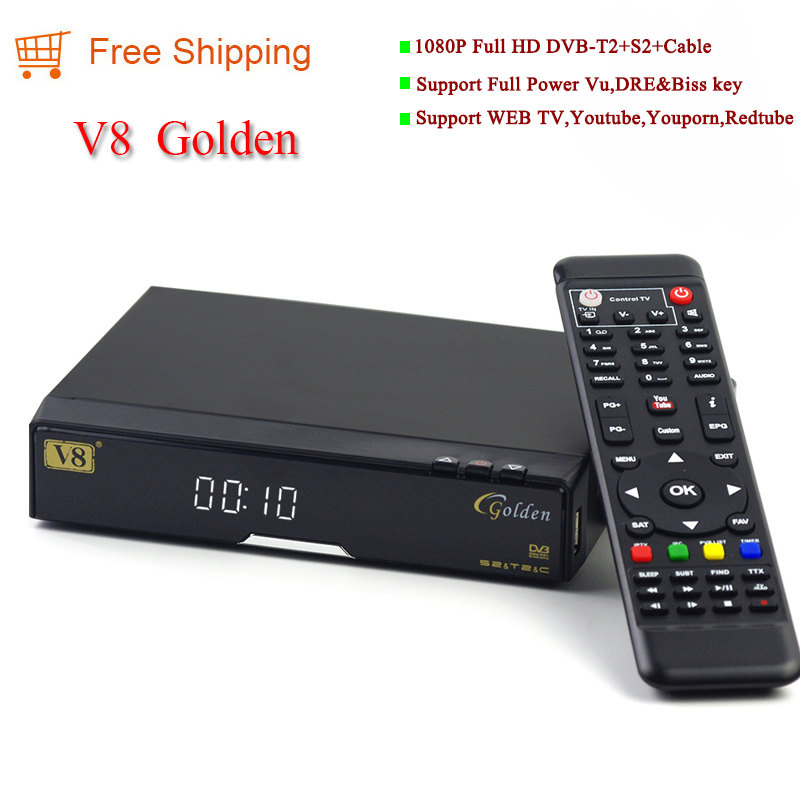 Digital satellite receiver hd DVB S2 T2 Cable V8 Golden instead of V8 pro Set top box support CCCAM Powervu Patch Youtube(China (Mainland))