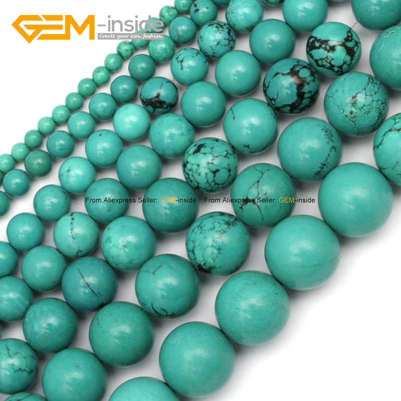 Natural round blue turquoise beads for jewelry making 4 for Natural seeds for jewelry making