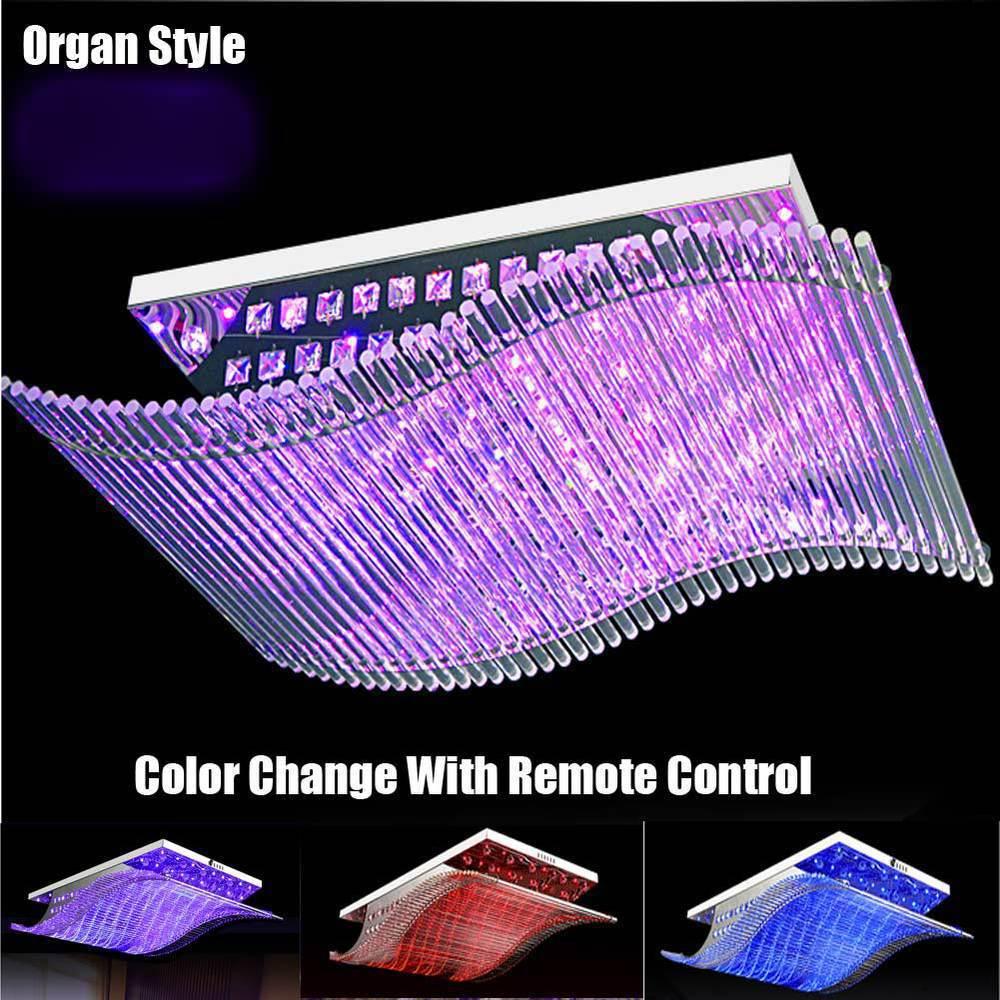 L mpara cristalina moderna del led cambio de color con - Lampara de arana moderna ...