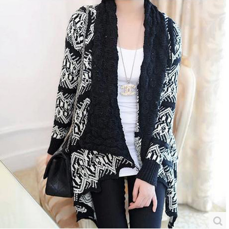 Autumn winter cardigans geometric long sleeve fashion long knitted sweater cardigan feminino 2015 womens capes and ponchoes sale(China (Mainland))