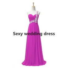 2015 lavender purple chiffon floor length elegant long one shoulder sweetheart  adult  sleeveless dresses  bridesmaid dresses(China (Mainland))