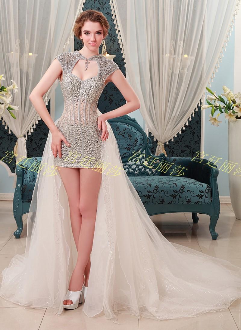 Buy 2015 new sexy crystal short wedding for Buy short wedding dress