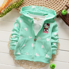 Spring Autumn Long Sleeved Candy Color Cartoon Girls Jackets Sweatshirts Cardigan Baby Infant Hooded Outwear Coats