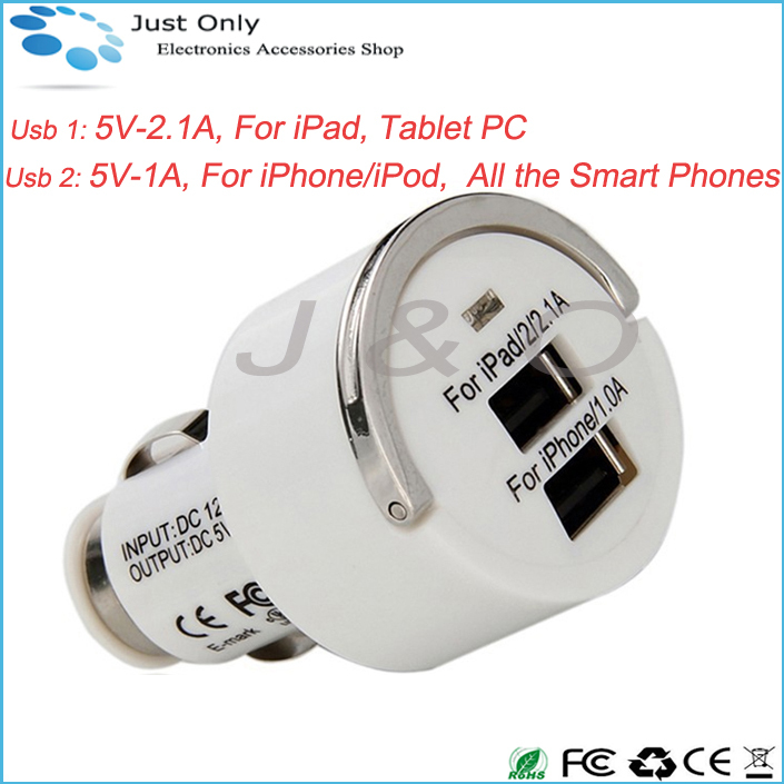 High Quality Dual USB Car Charger For iPad/iPhone 5V 3.1A Smart Fuse Circuit-Breaker Protection(China (Mainland))