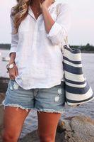 2015 New summer dress Regular Casual Full Turn-down Collar beach women blouse
