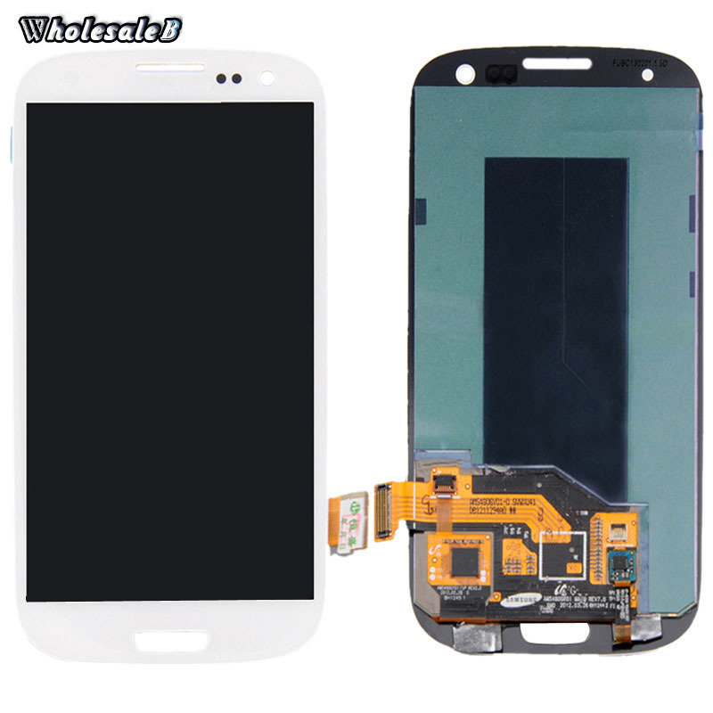 A+Quality White LCD Display Samsung S3 Touch Screen Digitizer LOGO i9300 i535 i747 T999 Free Ship SAM151 - B International Limited store