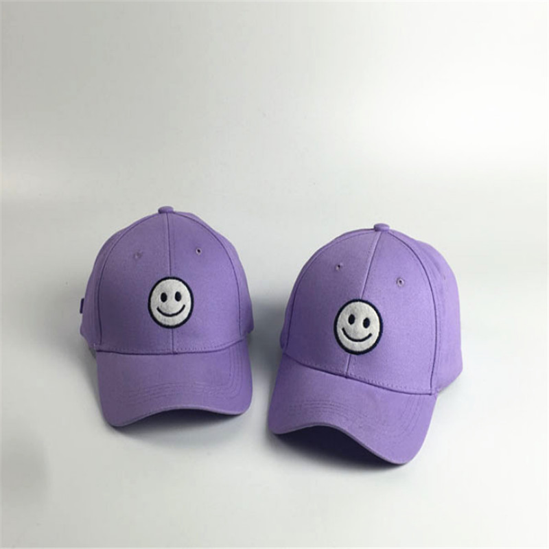 The new South Korean hip-hop baseball cap purple smiley letter solid curved eaves cap summer Korean Benn(China (Mainland))