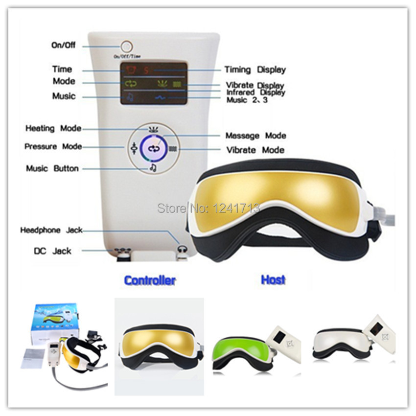 Vibration Air pressure Infrared Heater Eye Massager Massage glasses Built-In Music and Time Setting MR012-P4547(China (Mainland))