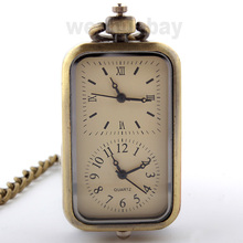 Bronze Men Quartz Pocket Watch Dual Double Time Zone Movement Necklace FOB Chain P296(China (Mainland))