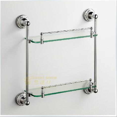 FedEx FREE Shipping Contemporary Chrome Bathroom Accessories Double Glass Shelf---A0202(China (Mainland))