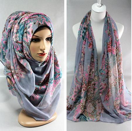 2015 flower women's cotton long viscose mix color hijab head wrap muslim hijab scarf shawl(China (Mainland))