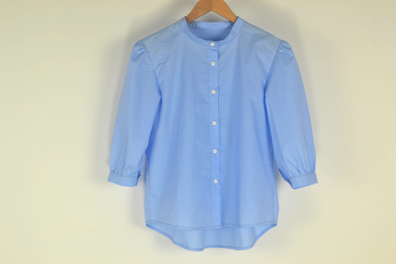 Simple summer new women Cotton collar shirt Pure Leisure Fat sleeves for shoulder fold sleeve shirts(China (Mainland))