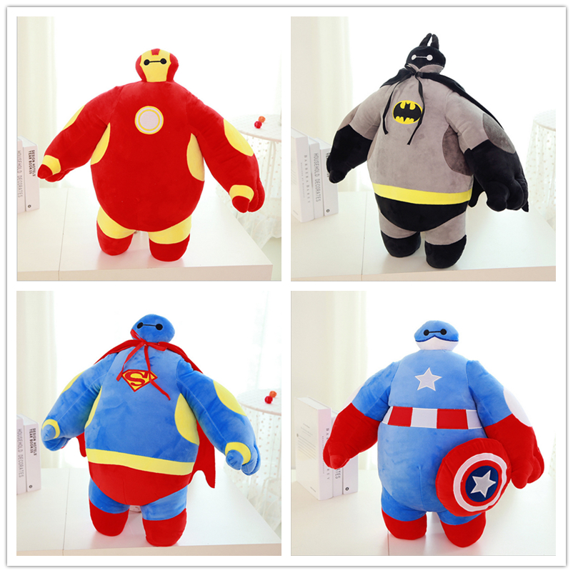 1pcs/set Baymax Cos Batman Iron Man Captain America Superman Big Hero Marvel Soft Stuffed Animals Kids Toys Anime 30-50cm(China (Mainland))