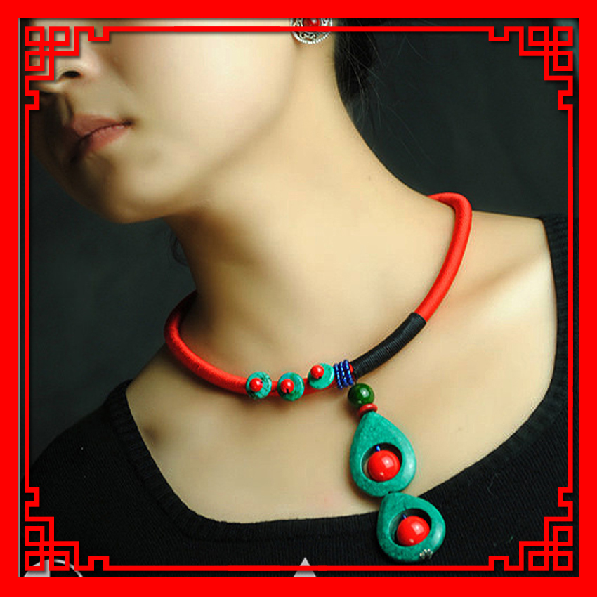 DIY Ethnic Jewelry national vintage bohemian water drop turquoise choker necklace,fashion handmade Torques necklace - MYWINY Store store