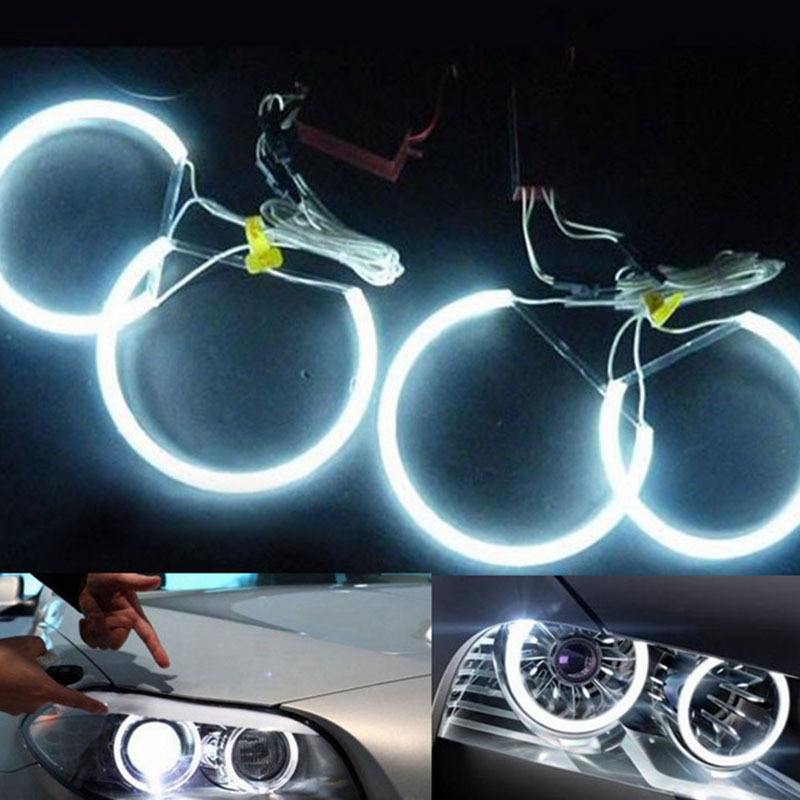 Free Shipping ccfl angel eyes White 6000K LED Angel Eyes headlights car light super brightness for BMW E36 3 E38 7 E39 5 E46(China (Mainland))
