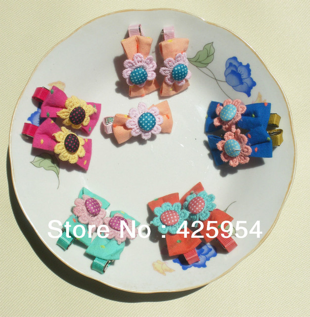 30pcs/lot  Promotional The new Flower Bow Hairpins / Child Headwear  Multicolor Mixed  Free shipping