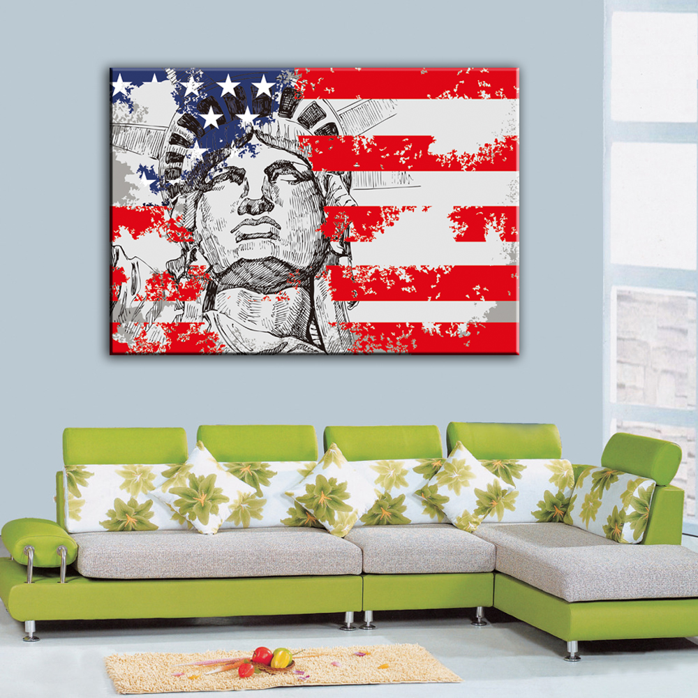 canvas art print retro flag of usa the statue of liberty of america new york statue: liberty bedroom wall mural