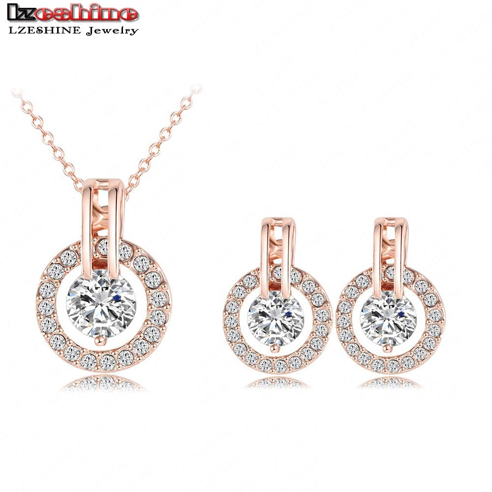 New Arrival 2016 Big Sale Wedding Jewelry Sets 18K Rose Gold Plated Necklace Earring Bijouterie Sets