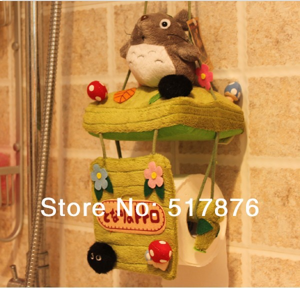 Retail Totoro Cat Plush Plush Hanging Roll Paper Holder Tissue Cover for House Free Shipping(China (Mainland))