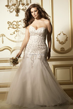 Top Online Mermaid Sweetheart Sleeveless Strapless Lace Plus Size Wedding Dresses 2015(China (Mainland))